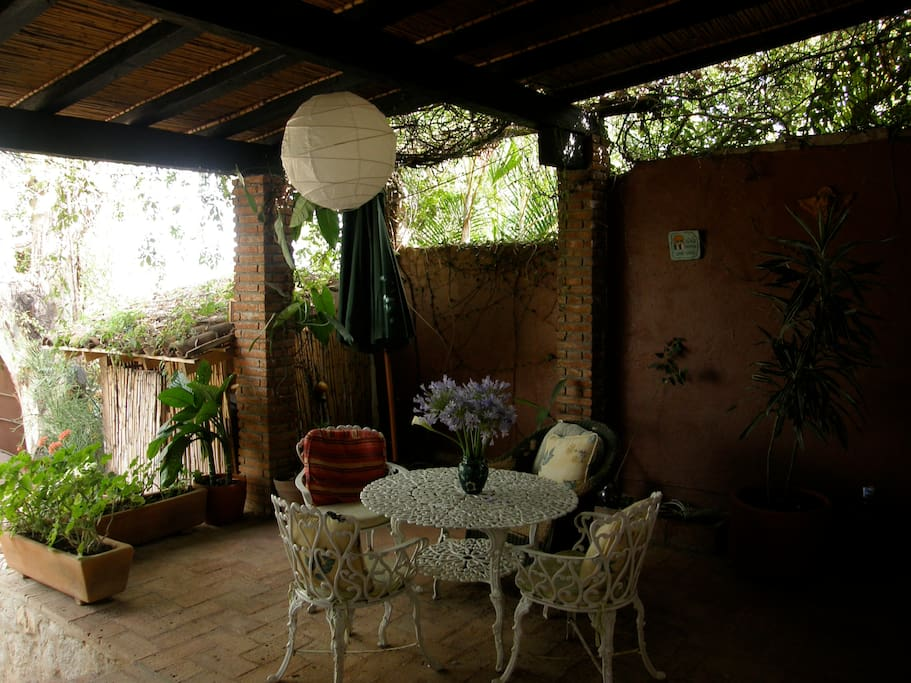 The patio off the kitchen
