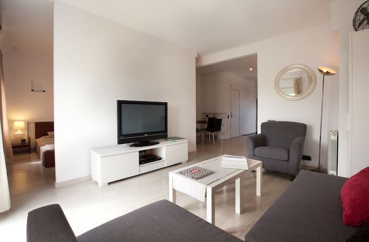 Living room area with comfortable sofa bed / 3 piece sofa, large screen tv, dvd player and small coffee table.