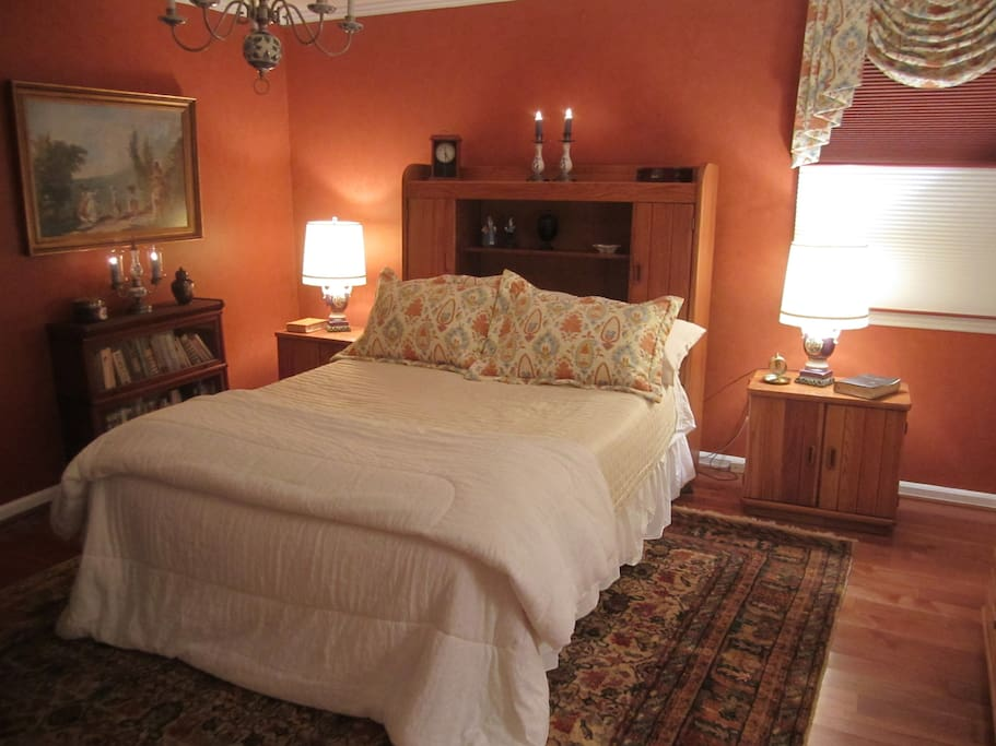 Classic Coral room boasts a queen-size  Craftsman bed. Lamps are conveniently wired to turned off at bed or a switch on wall beside door as you enter or leave.