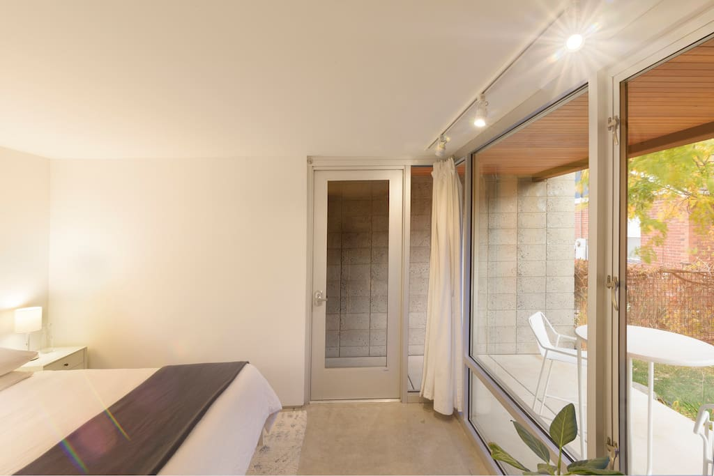 Private entrance with keypad activated lock allows guests to come and go as they please.  Large, front facing windows with great natural light