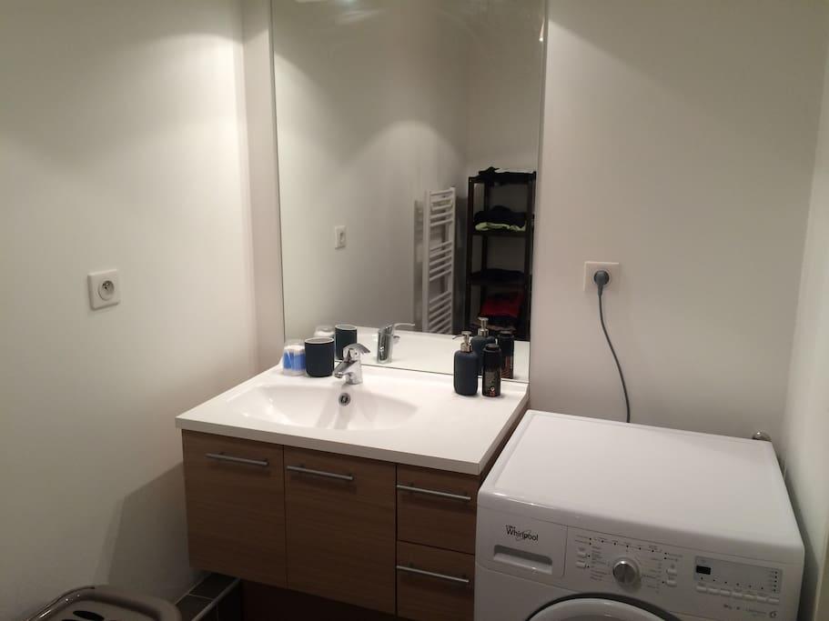 Lavabo avec grand miroir et rangements. Machine à laver.