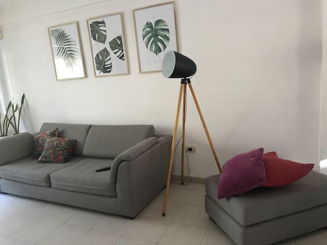 Living. -Sillón de tela de chenille gris, medidas 2,30 x 0,90 y  Puff 0,90 x 0,60 -Lámpara de pie -Mesitas  de apoyo