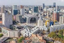 View on the new market hall, cubehouses and other Rotterdam buildings