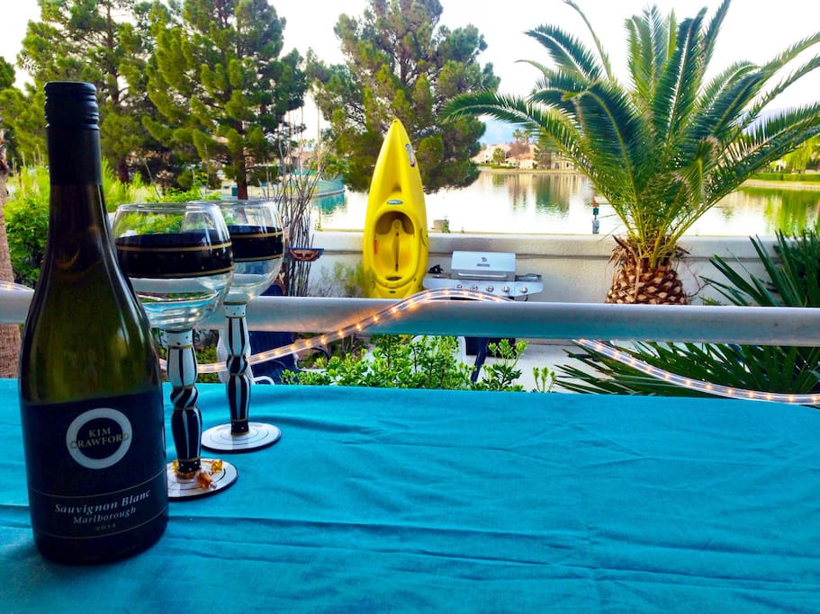 Wine and dinner on our deck overlooking the lake...a favorite spot during mornings and evenings.