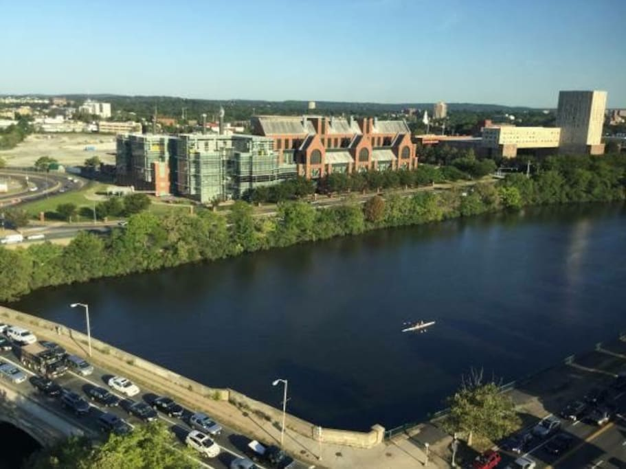 The view of the Charles River from the comfort of your room