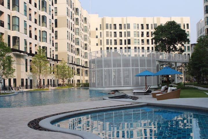 Pool view close to bts bearing sta, swimming, wifi