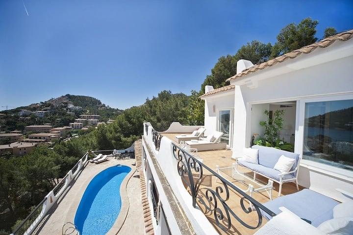 Ibiza style villa with panoramic sea views !