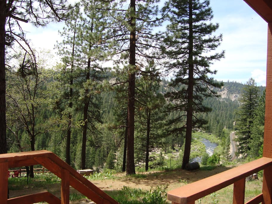 View from the back deck to take in the mountain and river view