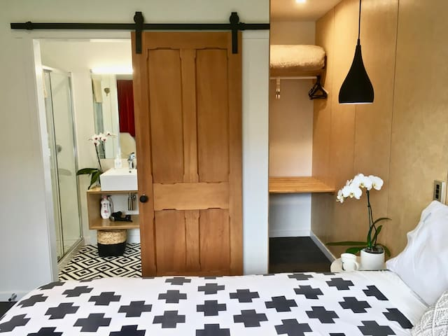 Top quality bed and linen, private bathroom, blackout curtains, sleep in air-conditioned comfort.