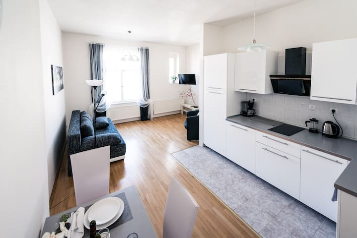 Living room + kitchen, includes: fold out sofa for 2 people – 150x200 cm, LCD satellite TV.