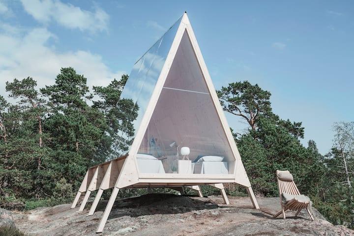 Nolla A-frame cabin, a modern and sleep AirBnB travel destination.