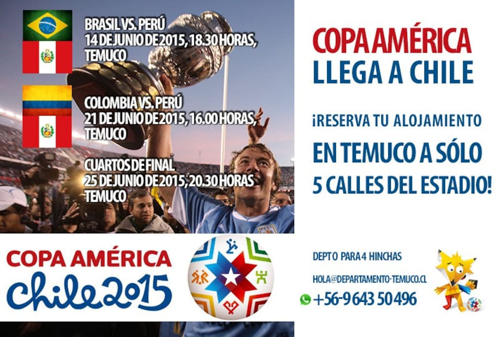 If you are a fútbol fan, on JUNE 2015, the COPA AMERICA is arriving to Temuco!.