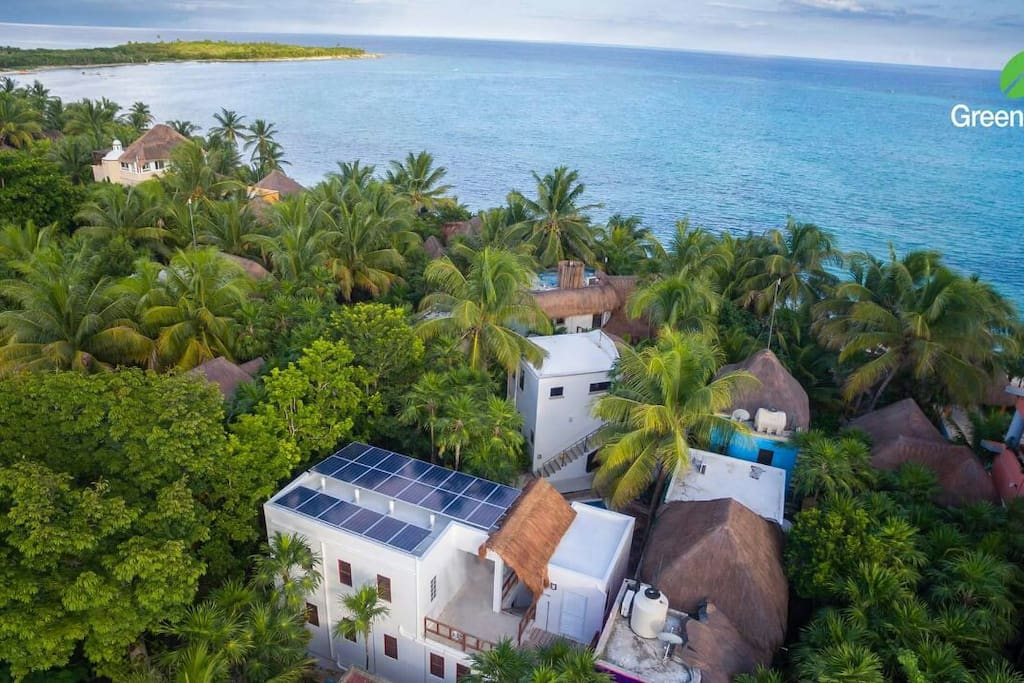 Aerial view of Casa Playa Maya.