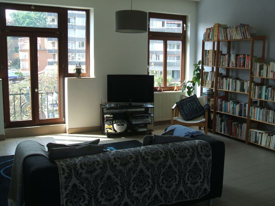 Living Room with HD TV, a digital TV subscription and DVD Player (with DVDs mostly in English).