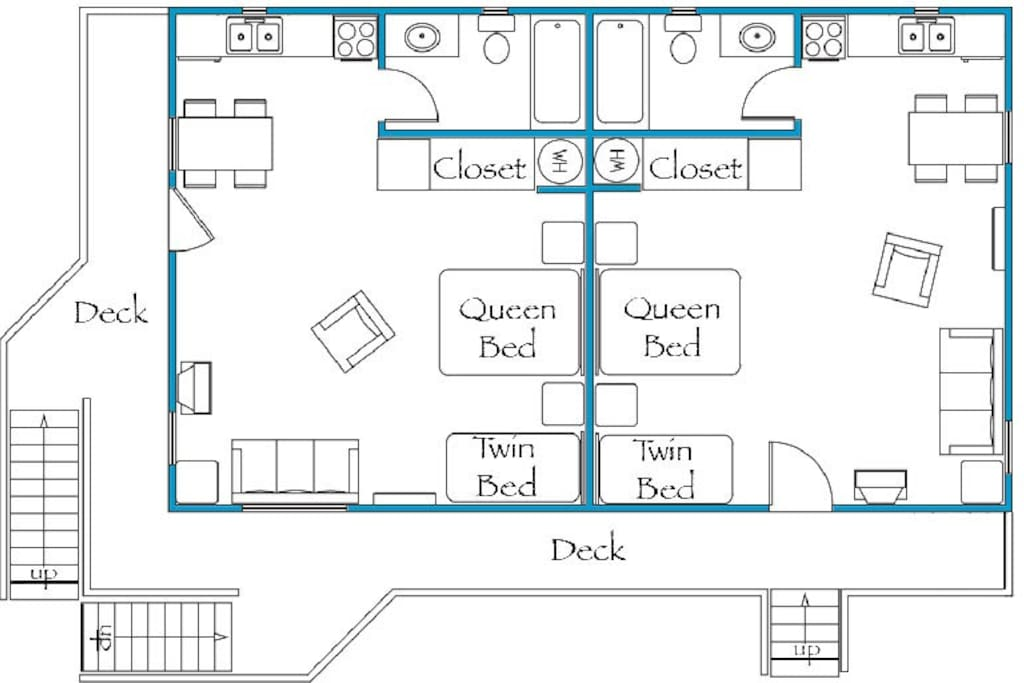 The floor plan for apartments 1 & 2