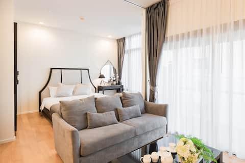 7楼曼谷城市中心豪华一房公寓/nana 码头200米/机场快线500米/康民医院500米