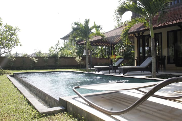 Luxury Private pool surrounded by rice paddies