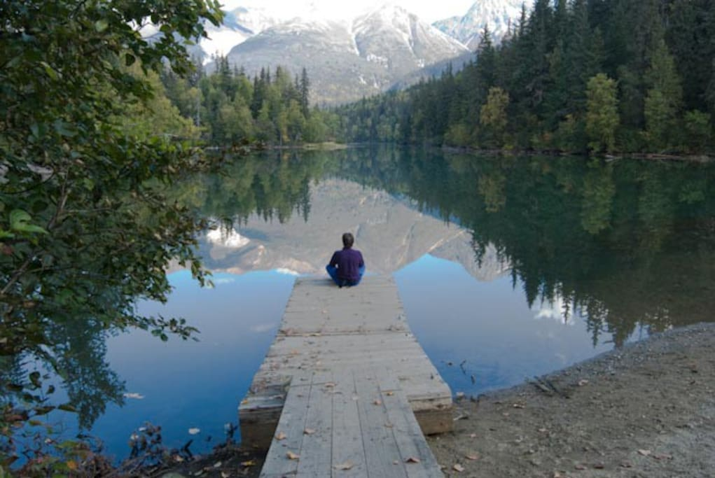 The lake allows for quiet reflection.