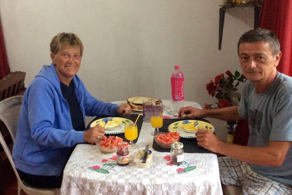 Guest having breakfast.