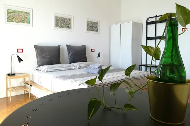 Binario 9. Double room with private bathroom.