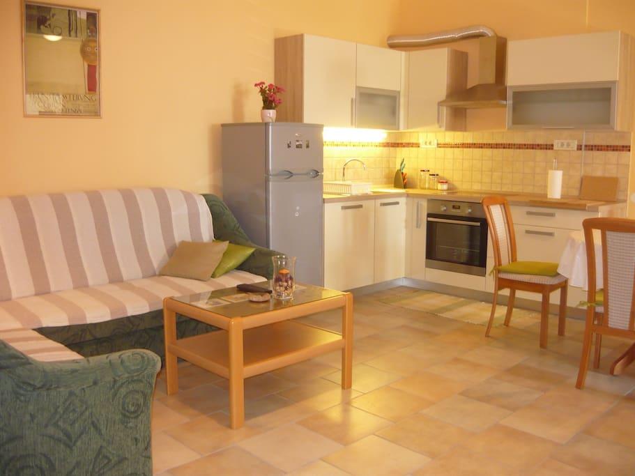 living room, kitchen with dinnig room