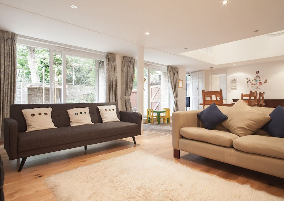 The spacious, light, bright living area