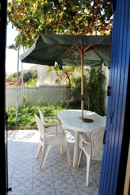 Terrasse avec petit jardin ombragé par une vigne.