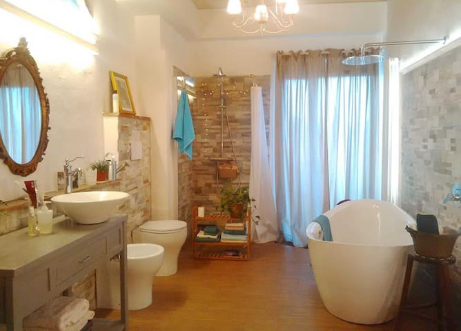 Amazing spa bathroom, sweet terrace, town center