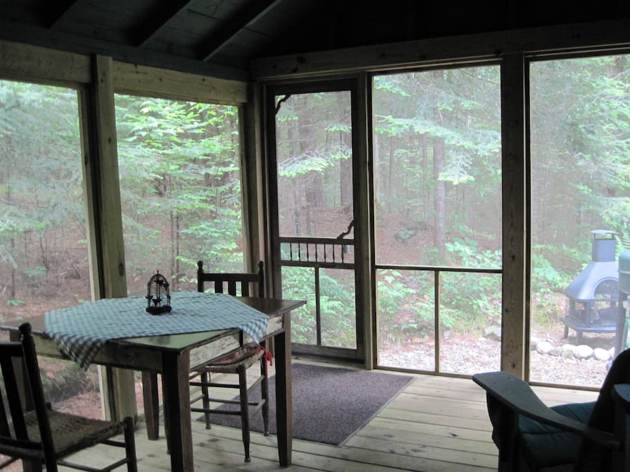 Back screened in porch with campfire area behind