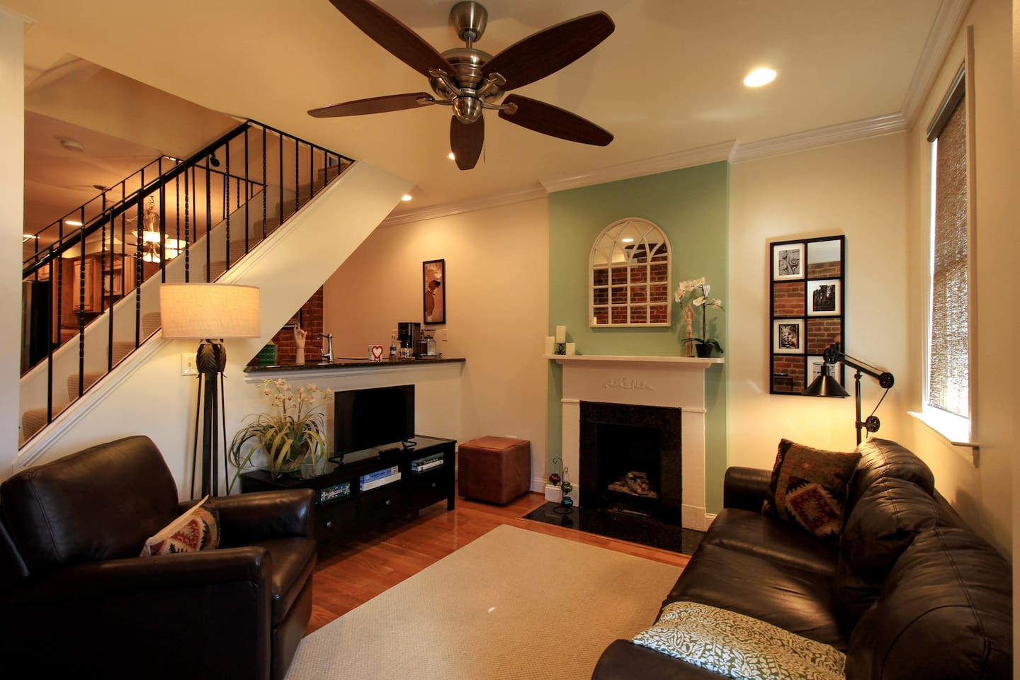 Living room of classic 1870's two over two row house.