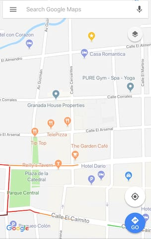 Google maps will not always work in Nicaragua, so having an offline version or even a paper map is a good idea. Casa Romantica is located on Calle Santa Lucia (some maps call it Almendro), just around the corner from Calle Cervantes