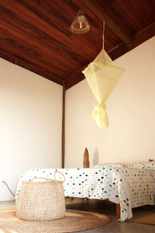 Nice bedroom with mosquito nets