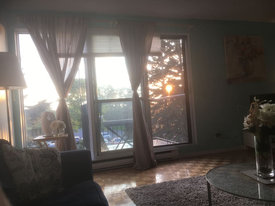 Sunset view from the living room.