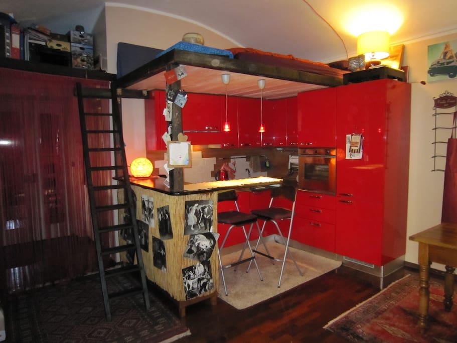 Kitchen with loft above