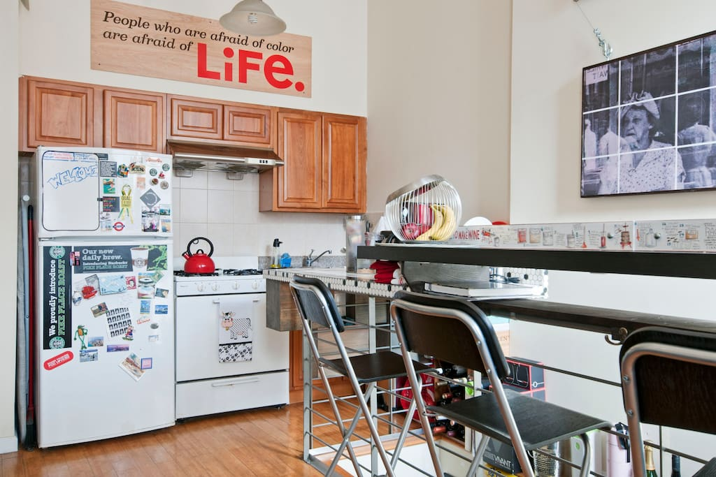 You are welcome to show off your cooking gifts in the kitchen. By the way, our fridge could always use a new magnet.