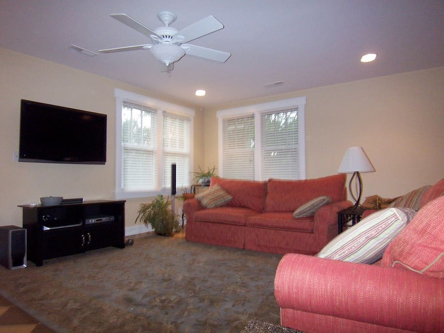 """2) sofas, 60"""" TV, surround sound. Lots of light! Blinds to dim at night. Yoga mat and weights available, and it becomes workout space!"""