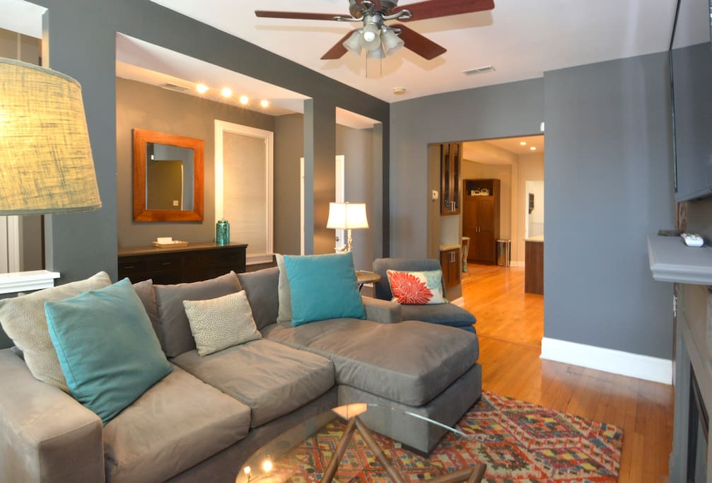 Living Room - Main Floor - flat screen tv, gas fireplace, cozy couch