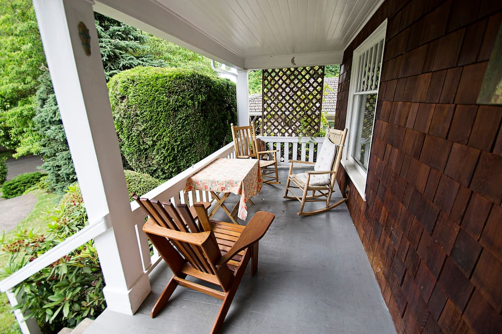 Front porch, one of our favorite aspects of the house in the summer