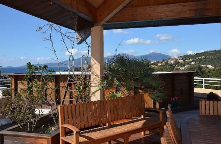 Appart 10p piscine privée terrasse avec vue mer - Pietrosella