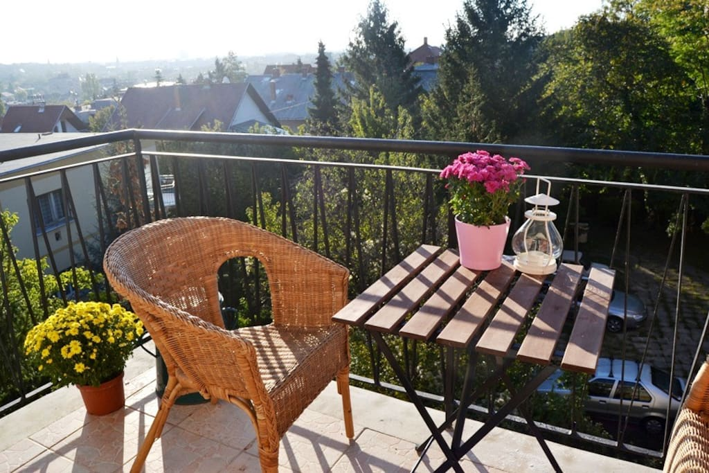 Relaxing balcony with plenty of plants and privacy: a perfect place for having breakfast and coffee or tea