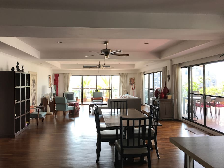 View on the dining and living room