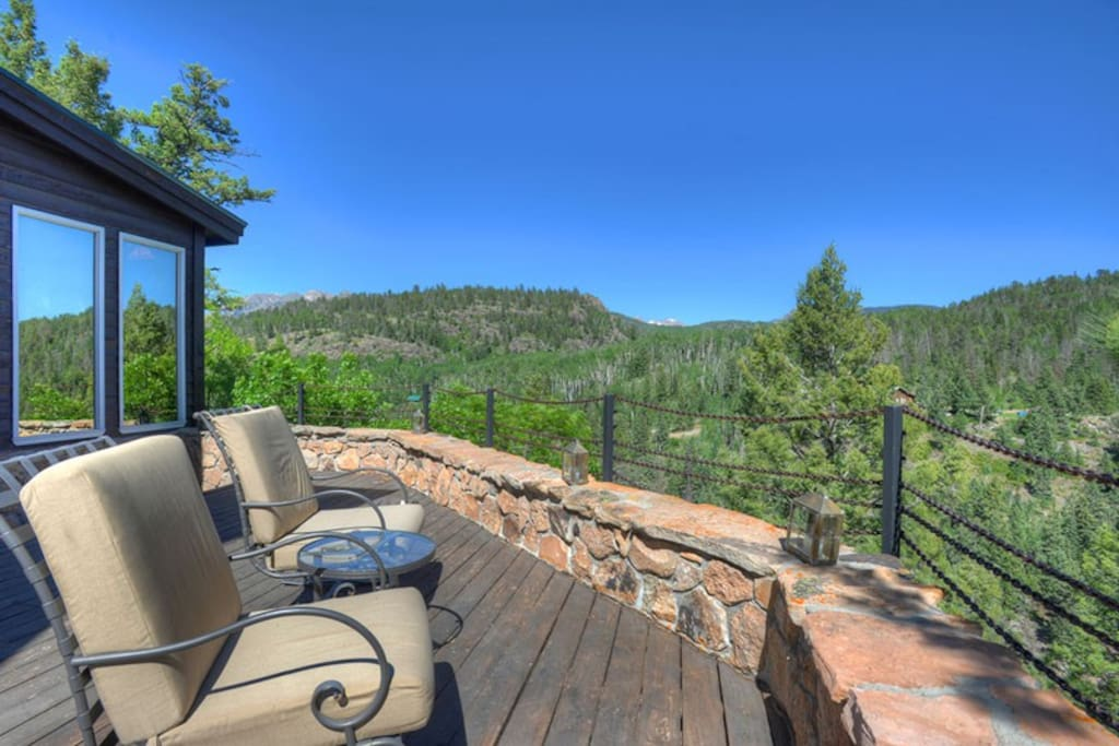 Deck with mountain views at Durango Colorado vacation rental home near Purgatory Resort known as Eagles Nest