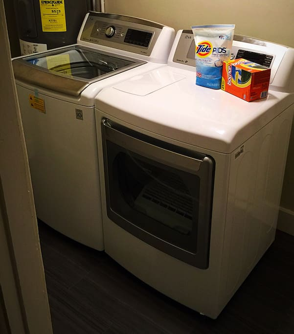 Washer and Dryer to freshen your clothes.