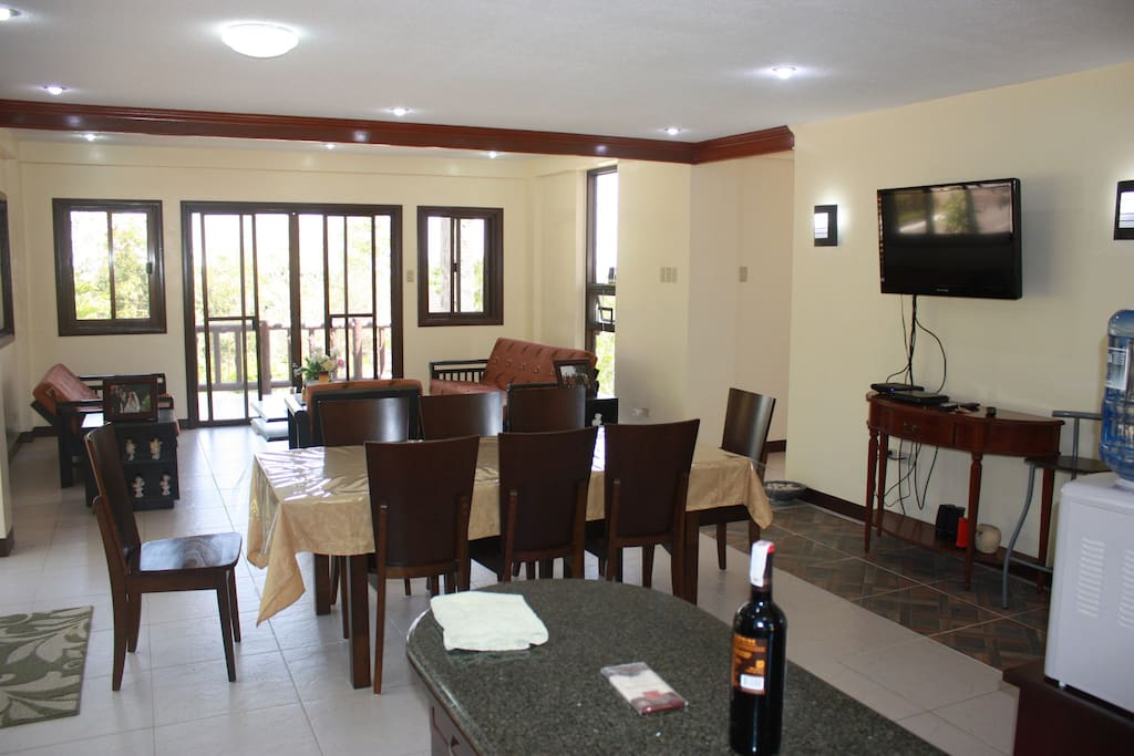 The living room and dining area.