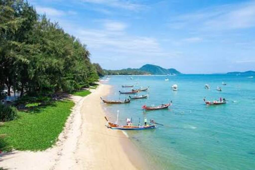 Rawai Beach outside our front door where you can catch boats to Phi Phi island, Ratcha island and many more.