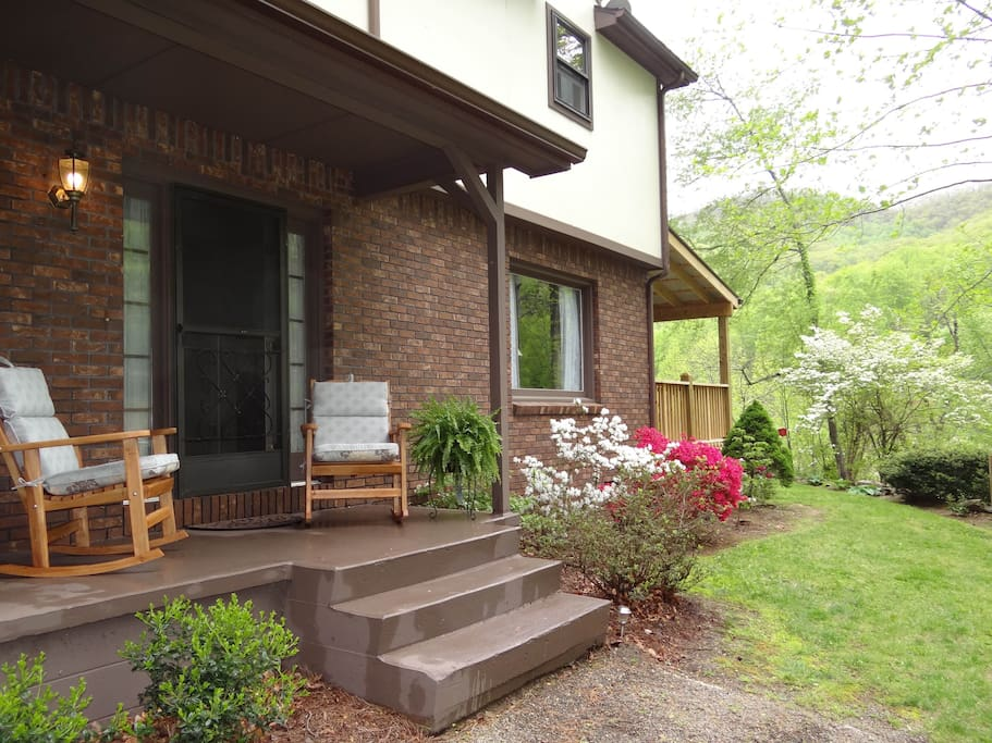 Front Porch where you can enjoy the wooded scenery-