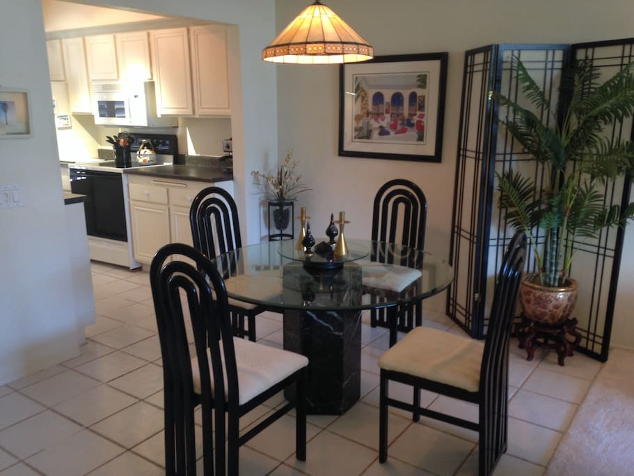Dining room and kitchen area.  Kitchen comes complete with all amenities.