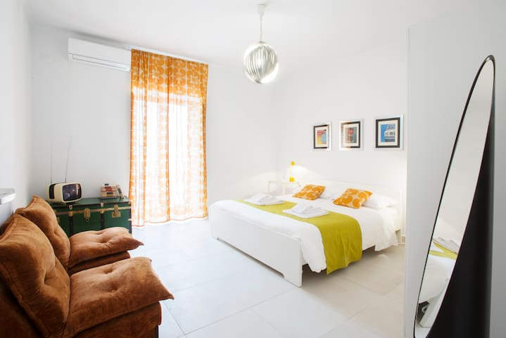 This bedroom is warm and comfortable. Sleep in a double bed cm160x200 and read a book on soft armchairs. With small balcony, three-door closet, air conditioning and heating.