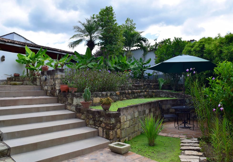 Lower garden is terraced and has an intimate dining area!