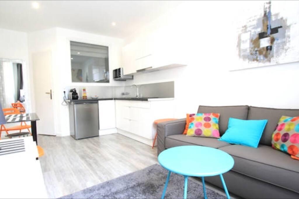 Agréable et moderne , salon avec jolie cuisine ouverte